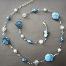 Light blue abolone stone necklace