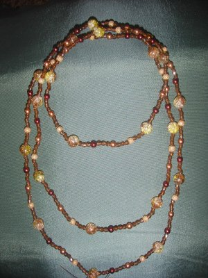 double strand multi color brown beaded necklace
