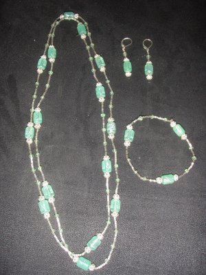 light green and silver beaded trio
