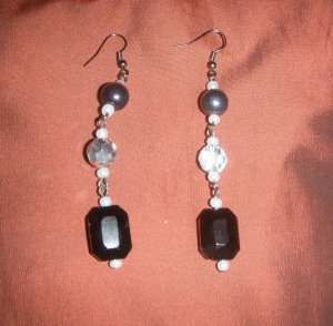 black diamond bead with silver and dark grey earrings