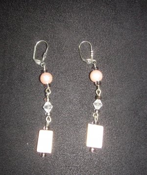 pastel pink with silver and white diamond  earrings
