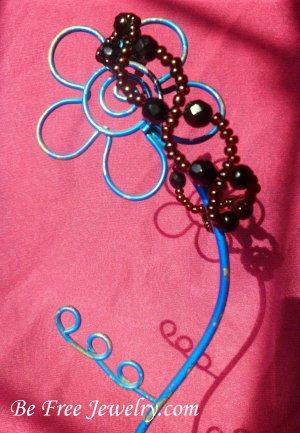 Dark red and black crystal bead wave bracelet