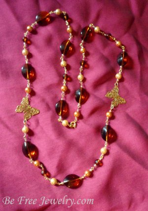Amber stone and pearls with gold filigree butterfly necklace