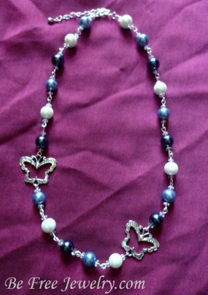 Blue pearls with silver butterflies beaded neckalce