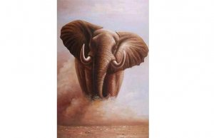 ELEPHANT IN THE DUST OIL PAINTING