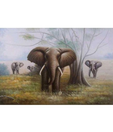 ELEPHANTS ON THE MOVE OIL PAINTING