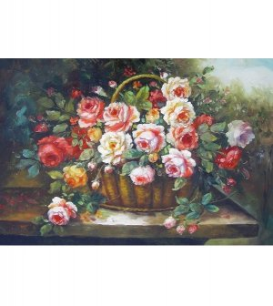 SPRING FLOWER BASKET  OIL PAINTING
