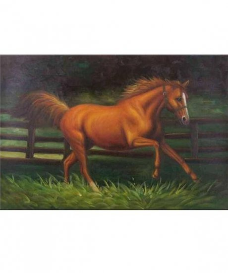 CHESTNUT HORSE IN PADDOCK OIL PAINTING