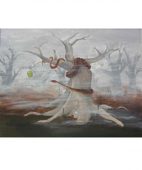 GARDEN OF EDEN SERPENT AND APPLE  OIL PAINTING