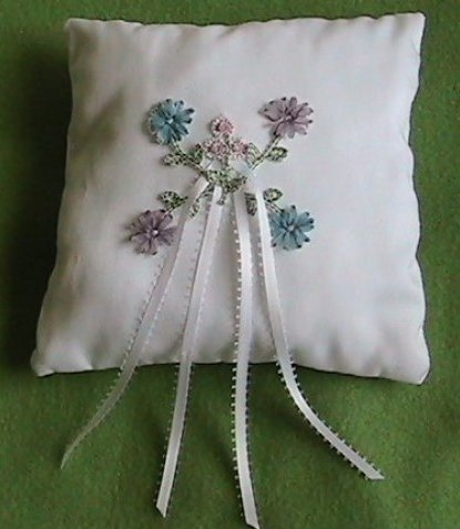 Delicate Flower Ring Bearer Pillow