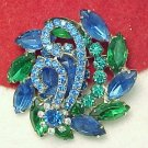 Vibrant Blue and Green Rhinestone Brooch Glitz Bling Dazzling