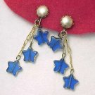 Old Signed GERMANY Cobalt Blue Art Glass Dangling Stars Earrings Clip Back