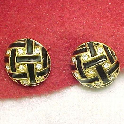 Signed ROMAN Sparkling Rhinestone and Black Enamel Earrings Pierced Post Back