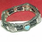 Southwestern Stretch Bracelet Silver Tone Turquoise Heart Stone Leather Braiding