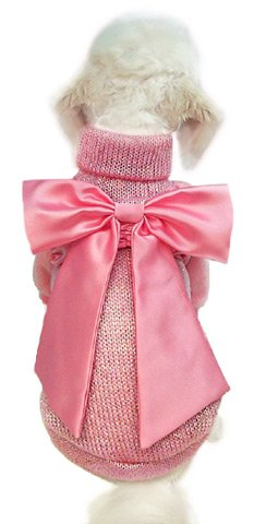 PINK KNIT SWEATER WITH BOW