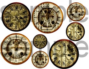 Antique French Gardens Altered CLOCKS Unique and OOAK Digital Collage Sheet