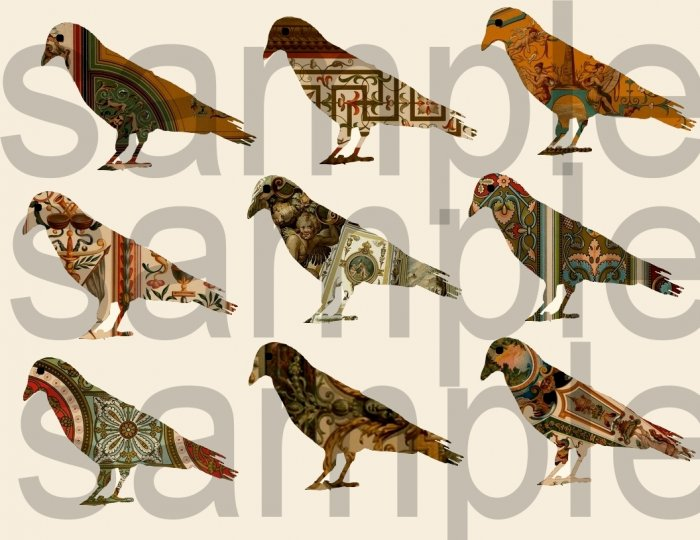 Vintage Renaissance Ornate Design....9 New Altered CROWS..... Digital Collage Sheet
