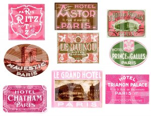 Vintage PARIS in Pink...Luggage Labels...Travel......Digital Collage sheet
