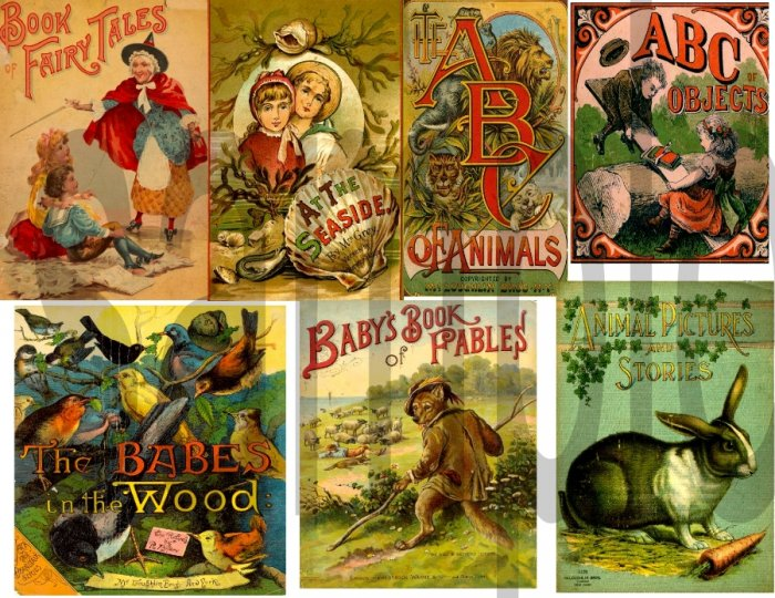 Antique Childrens Book Covers Digital Collage Sheet