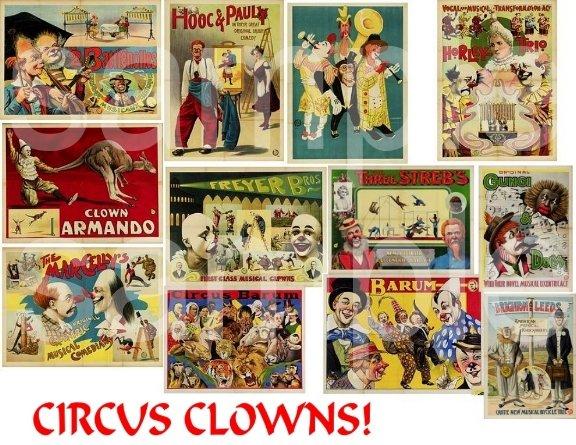 Vintage Circus Clowns ... Digital Collage sheet