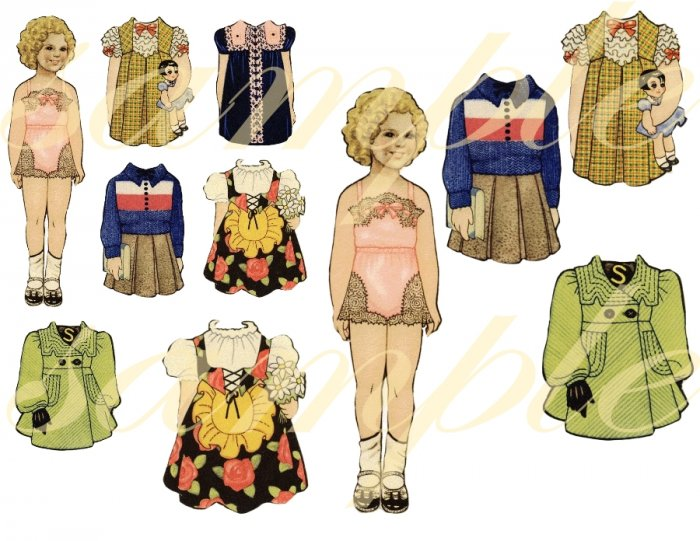 Vintage Shirley Temple Paper DOLL Images Digital Collage Sheet