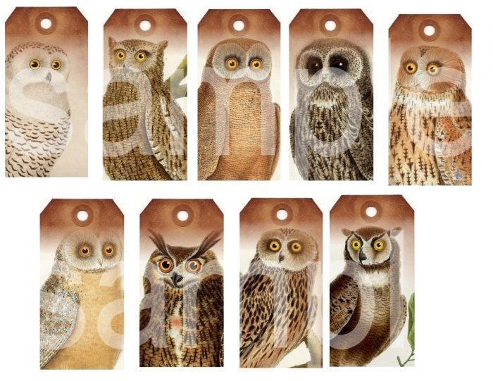 Grungy Vintage OWL Tags...Striking... Digital Collage Sheet