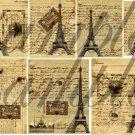 Vintage PARIS Letters with Eiffel Tower Digital Collage Sheet