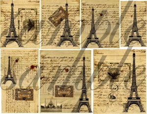 Vintage PARIS Letters with Eiffel Tower Digital Collage Sheet