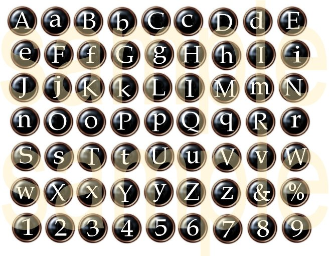 Typewriter Keys Black Button Alphabet Digital Collage Sheet