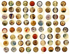 72 Bottlecap size Altered Clock Faces 7-8ths inch each Digital Collage Sheet