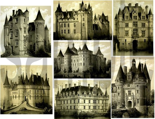 French CASTLES from Vintage Prints Digital Collage Sheet