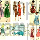 Vintage Retro 1950s Ladies Fashions Aprons Dresses  Digital Collage Sheet