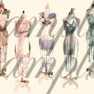 Vintage Altered Dress Forms Dressmakers Mannequin French Paris CHIC Pastels Digital Collage Sheet