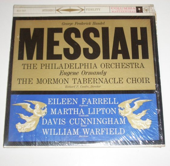 Messiah The Philadelphia Orchestra and Mormon Tabernacle Choir 33 RPM Vinyl LP 1959