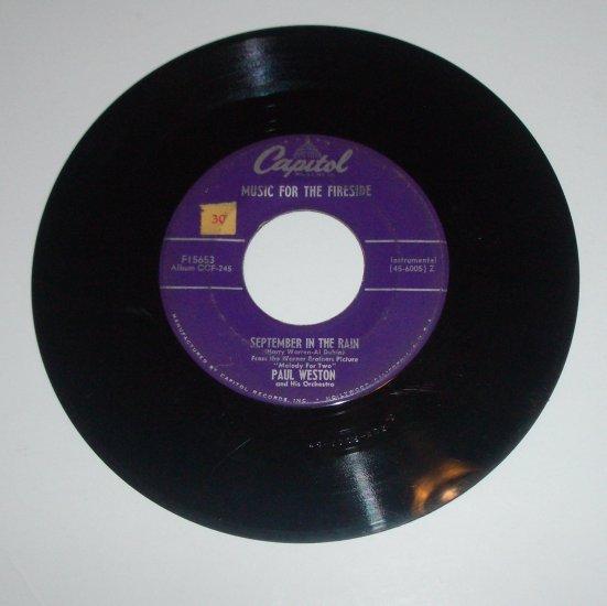 "Paul Weston 45 RPM 7"" Vinyl Record September in the Rain / Tenderly"