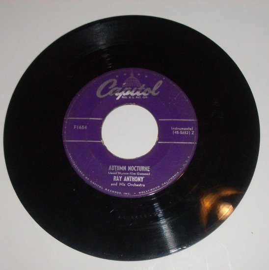 Ray Anthony 45 RPM Vinyl Record Autumn Nocturne / Tenderly