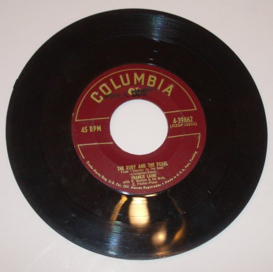 Frankie Laine 45 RPM Vinyl Record The Ruby and the Pearl / The Mermaid 1951