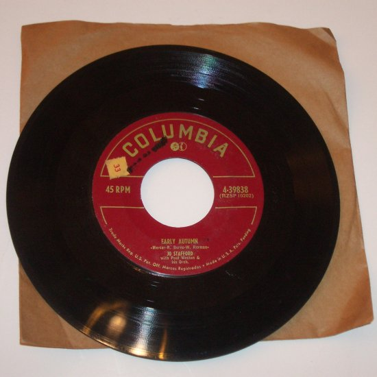 "Jo Stafford 7"" Vinyl 45 RPM Record Jambalaya / Early Autumn 1952"