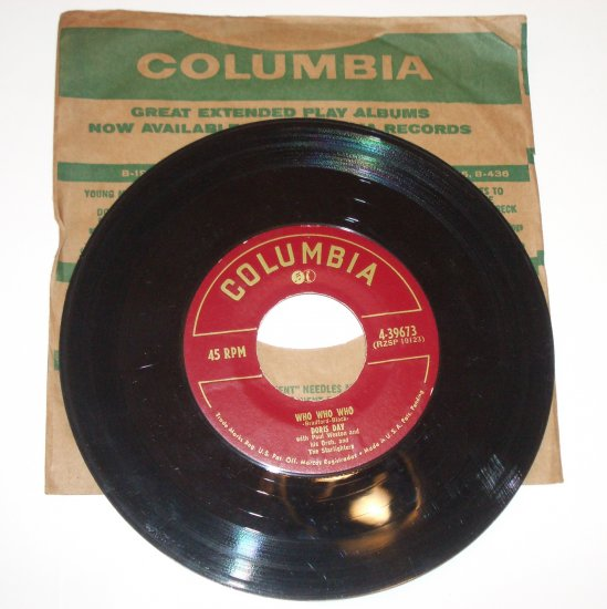 "Doris Day 7"" Vinyl 45 RPM Record Who Who Who / A Guy is a Guy 1952"