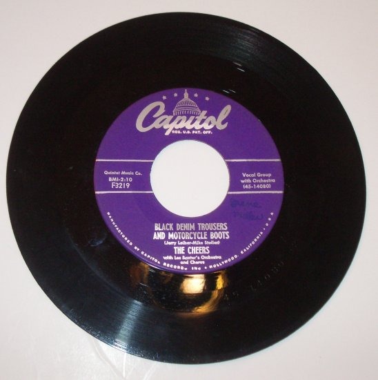 The Cheers 45 RPM Record Black Denim Trousers and Motorcycle Boots / Some Night in Alaska 1955