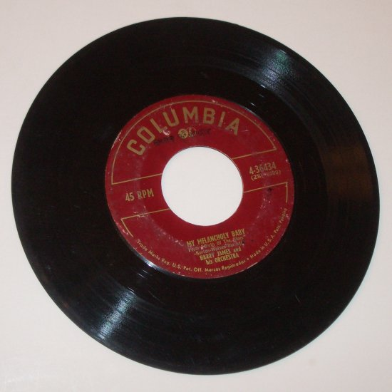 "Harry James and His Orchestra 7"" Vinyl 45 RPM Record My Silent Love / My Melancholy Baby"