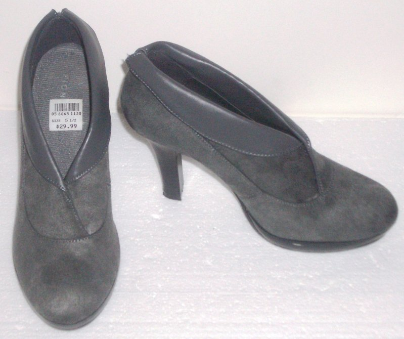 Fioni Gray Suede Ankle Boots High Heels Shoes Size 5.5