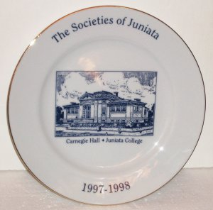 Juniata College Carnegie Hall Porcelain China Plate Huntingdon, PA