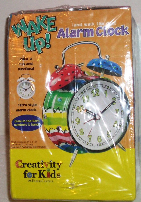 Creativity for Kids Paintable Alarm Clock Retro Glow in Dark Numbers & Hands