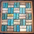"Wine Cork Trivet Repurposed Primitive Handmade Wood Craft 9 1/2"" Square Blue Yellow Surprise"