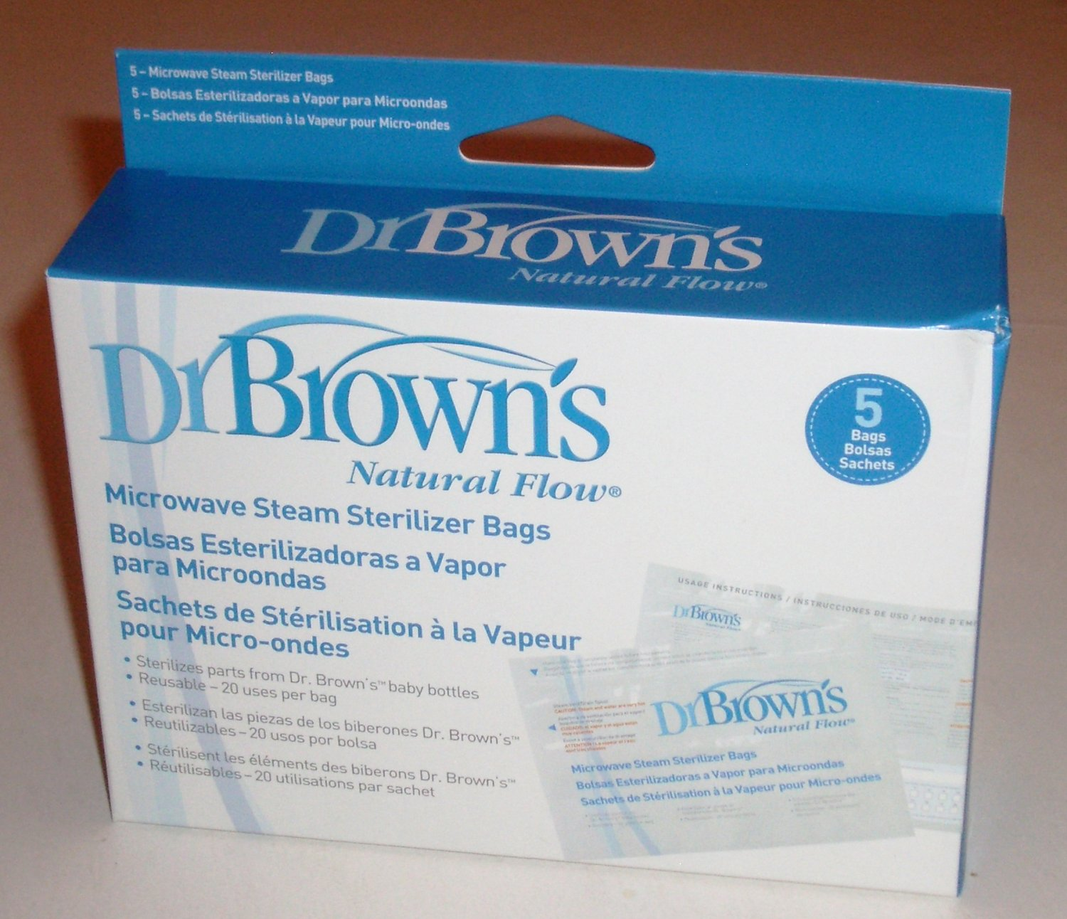 5 pack Dr Brown's Microwave Steam Baby Bottle Sterilizer Bags Reusable Natural