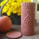 Natural Terra Cotta Clay Wine Cooler Grape Motif Gourmet-Topf USA Made w/Coaster