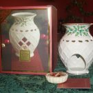 Lenox China HOLIDAY HOLLY BERRY Fragrance Warmer & Christmas Tarts Wax Potpourri