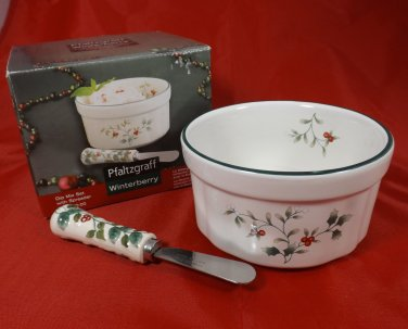Pfaltzgraff Winterberry 2 Piece Dip Mix Set with Spreader ~ Christmas Holiday Serveware