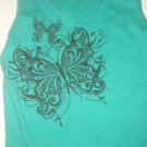 AEROPOSTALE Jr Womans Cami Tank Top Sz Small Butterfly Motif with Rhinestones